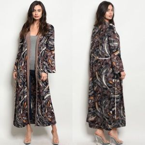 Brand New Black Wine With Feather Print Kimono